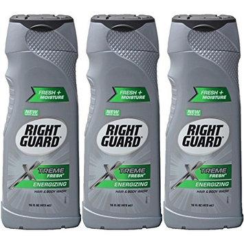 (3 Pack) Right Guard Hair & Body Wash - Xtreme Fresh - Energizing - Net Wt. 16 Fl Oz (473 Ml) Each : Beauty