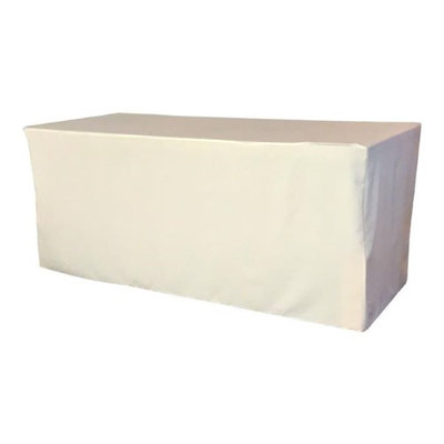 LA Linen TCpop-fit-72x24x30-IvoryP25 2.1 lbs Polyester Poplin Fitted Tablecloth Ivory