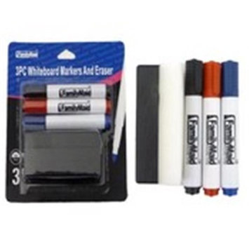 DDI 2184039 3 Piece with Eraser Dry Erase Markers - Black Blue & Red