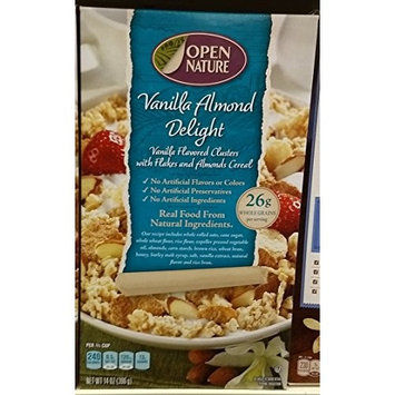 Open Nature Vanilla flavored clusters with flake & Almonds cereal 14oz, pack of 1