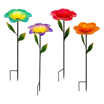 Evergreen Enterprises 4 Colorful Blooming Flower Bird Feeder Stakes