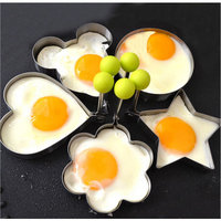 BeautyTale 5-Shape Fried Egg Rings Non Stick Stainless Steel Pancake Mold Cooking Tools for Making Cakes,Meatloaf,Biscuits
