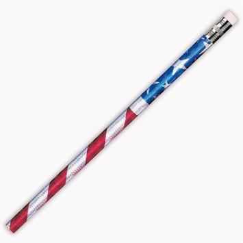 J.R. Moon Pencil JRM7662BBN Pencils Glitz Stars & Stripes - 12 Dozen