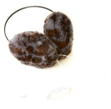 Fashion Knits Women's Leopard Earmuff Headphones- Grey