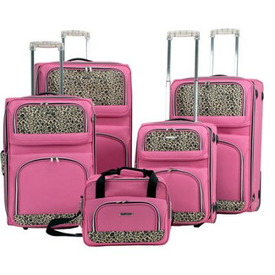 Rockland 5-pc. Pink Leopard Luggage Set