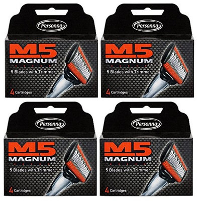 Personna M5 Magnum 5 Refill Razor Blade Cartridges, 4 ct. (Pack of 4) + FREE Travel Toothbrush, Color May Vary