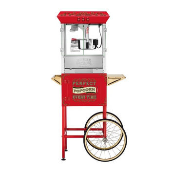 Great Northern Popcorn Company Great Northern 10 oz. Perfect Popper Machine with Cart - Red Makes 12 Quarts