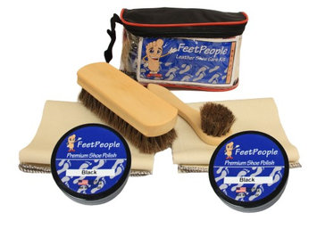 FeetPeople Deluxe Leather Care Kit with Travel Bag, Black