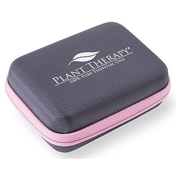 Plant Therapy Small Travel Case, Gray Hard Cover with Pink Zipper, Holds 10 Bottles
