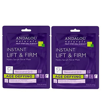 Andalou Instant Lift & Firm Hydro Serum Facial Mask with Argan Oil, White Tea Extract, Fruit Stem Cells, Reservatrol, CoQ10, Non-GMO.28 fl. oz. (Pack of 2)