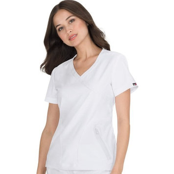 koi lite women's unity mock wrap solid scrub top xx-large white