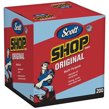 "Scott Shop Towels Original (75190), Blue, Pop-Up Dispenser Box, 10"" x 12"", 200 Sheets/Box, 8 Boxes/Case, 1,600 Towels/Case"