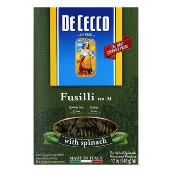 De Cecco Dececco Fusilli with Spinach, 12-Ounce (Pack of 12)