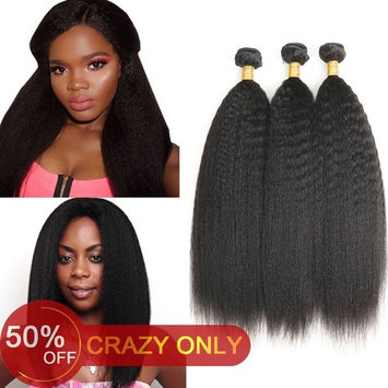 Aligogo Brazilian Yaki Straight Hair 3 Bundles 8A Kinky Straight Hair Bundles Unprocessed Virgin Human Hair Extensions, Natural Black