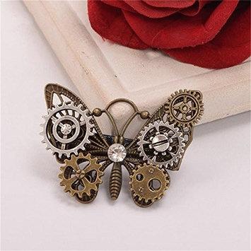 Girls Steampunk Gear Butterfly Wings Hair Clip Goth Punk Vintage Lolita Lady Headwear hair accessories