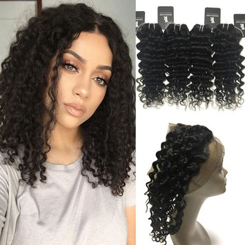 Rissing Hair Deep Wave Bundles Deals 4 Bundles Of Brazilian Hair, Remy Human Hair Weave Brazilian Virgin Hair Bundles 50g/Bundle Totally 200g Natural Black (10