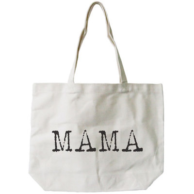 Mama Typewriter Canvas Bag Tote Diaper Book Grocery Bag For Mom Mother's Day