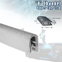 Car Elements White Car Edge Trim Seal Interior & Exterior PVC Rubber U Channel DIY Waterproof Weather Shield Anti Dust (36ft)