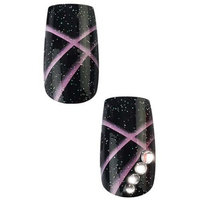 Cala Professional Dazzling Designer Nails in Black Sparkle with Purple Detail and Gem # 87-955 + Aviva eco nail file