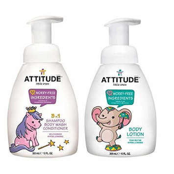 Attitude 3-in-1 Shampoo Wild Berries and Baby Body Lotion Bundle with Matricaria Flower Extract, Sodium Benzoate, Shea Butter and Soybean Oil, 10 fl. oz. each