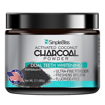Teeth Whitening Activated Charcoal Powder Toothpaste 60g - Effective All Natural Organic Coconut Tooth Whitener - Non-Abrasive and Safe on Enamel - Removes Surface Stains for a Confident Whiter Smile
