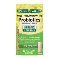 Spring Valley Multivitamin With Probiotics Vegetable Capsules, 30 Ct