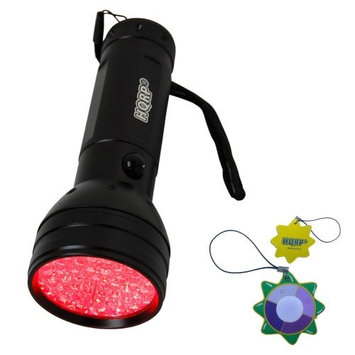 HQRP 51 LEDs Red Light LED Black Flashlight with a Large Coverage Area for Astronomy / Aviation / Night Vision plus HQRP UV Meter