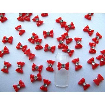Nail Hall 3D 40pcs Small Red Bow /Rhinestone Nail Art for Nails/Cellphones