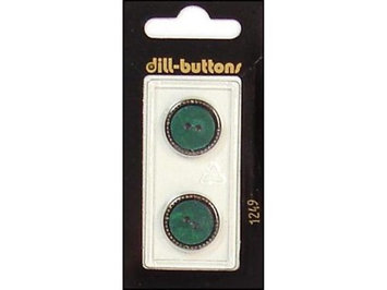 Dill Buttons 18mm 2pc 2 Hole Dark Green/Gold