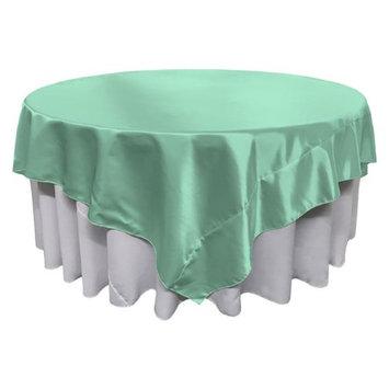 LA Linen TCbridal90x90-MintB44 Bridal Satin Square Tablecloth Mint - 90 x 90 in.