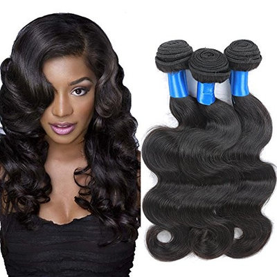Superlove Brazilian Virgin Hair Body Wave 3 Bundles Human Hair Bundles 7A Unprocessed Brazilian Body Wave Hair Weave Natural Color(18 18 18)