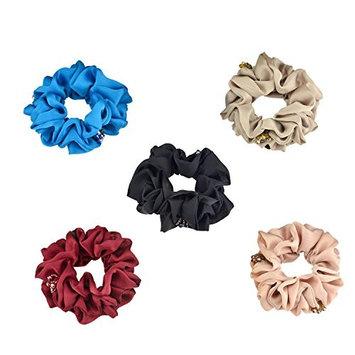 5PCS Crystal Chiffon Hair Scrunchies Elastic Hair Ponytail Hair Bands Ties Holder Hair Accessories For Women