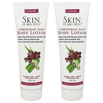Skin by Ann Webb Lemongrass Sage Body Lotion (Pack of 2) with Aloe, Rosemary Leaf Extract, Chamomile Flower Extract, Lemongrass, Jojoba Seed Oil and Sage, 8 oz
