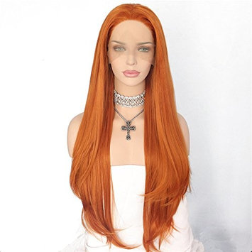 Udreamy Premium Fiber Orange Lace Front Wigs Natural Hairline Heat Resistant Hair High Density Synthetic Wigs for Women