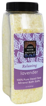 One With Nature - Dead Sea Mineral Bath Salts Lavender - 32 oz.(pack of 6)