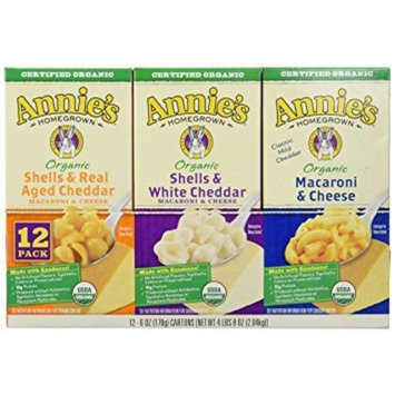 Annie's Organic Macaroni and Cheese, Variety Flavor , 1 Pack ( 6 oz Each, 12 Boxes Total )