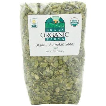 Braga Organic Farms Pumpkin Seeds, Raw, 2 Pound [Raw]