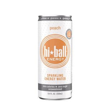 Hiball Peach Sparkling Energy Water, 8.4 Oz (Case of 24)