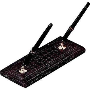 Bey-berk Double Pen Stand, Brown Croco Leather, D1418