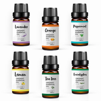 USDA Organic Essential Oils (Set of 6 10 ml) Natural Aromatherapy for Diffuser   Therapeutic Stress Relief & Relaxation Mothers Day Gift Set   Lavender Peppermint Tea Tree Lemon Orange Eucalyptus
