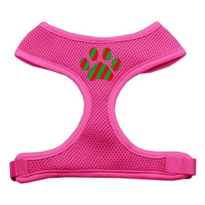 Mirage Pet Products Christmas Paw Screen Print Soft Mesh Dog Harnesses, Medium, Pink