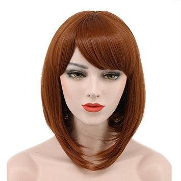 Karlery Women Short Bob Straight Dark Orange Wig Halloween Cosplay Wig Anime Costume Party Wig