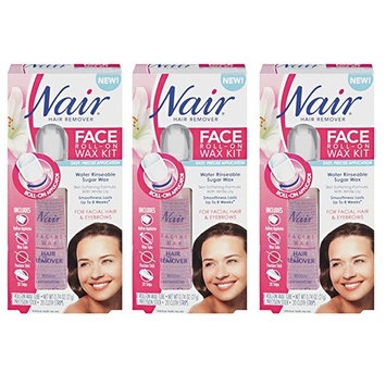 Nair Face Roll-On Hair Remover Wax Kit, 0.7 OZ (Pack of 3) + LA Cross Tweezers 71817
