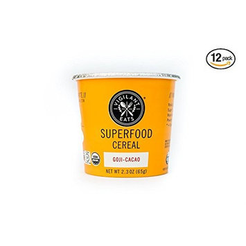 Vigilant Eats Superfood Cereal   Organic, Gluten Free, Vegan, Non GMO, Kosher   Goji Cacao, 2.3 oz Cup (Pack of 12)