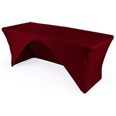 LA Linen TCSpandex-OB96x30x30-BurgundyX17 Rectangular Open Back Spandex Tablecloth Burgundy - 96 x 30 x 30 in.