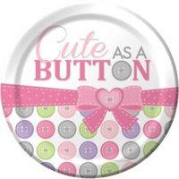 Cute As A Button Girl 9-inch Plates , 2PK
