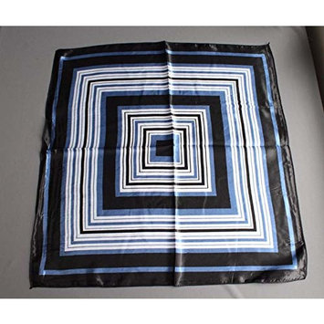Blue Black white Satin silky feel square scarf wrap neckerchief tie kerchief