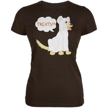 Halloween Ghost Treats Dog Brown Juniors Soft T-Shirt