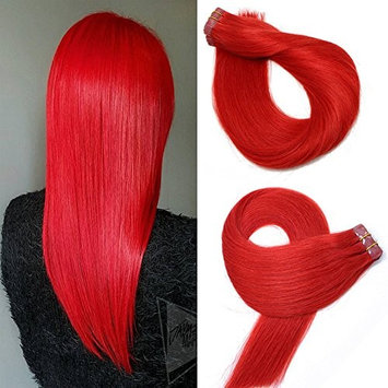 Tape In Remy Human Hair Extensions 20pcs 30g Per Set #red Remy Hair Extensions Seamless Skin Weft Remy Silk Straight Hair Glue in Extensions Glue in Extensions Human Hair 16 Inch