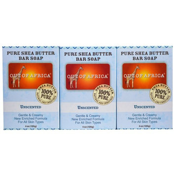 Out of Africa, Pure Shea Butter Bar Soap, Unscented, 3 Pack, 4 oz (120 g) Each [Scent : Unscented]